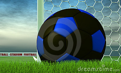 Black and blue soccer-ball on green