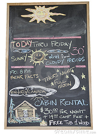 Black board with handwritten weather forecast