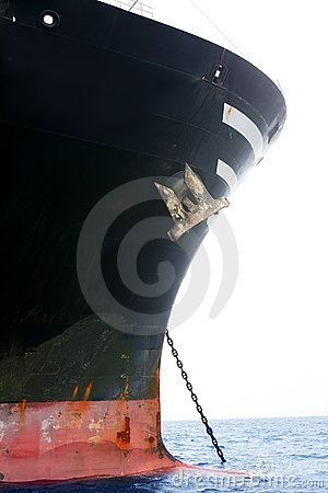 Free Black Boat Anchored On Sea Blued Water Stock Photography - 11873082
