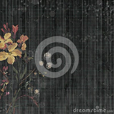Free Black Bohemian Gypsy Floral Antique Vintage Grungy Shabby Chic Artistic Abstract Graphical Ledger Paper Background With Flower Royalty Free Stock Image - 110352376
