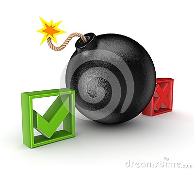Black bomb between tick and cross mark.