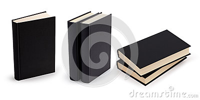 Black book blank cover set with clipping path