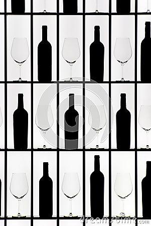Black bottles and crystal glasses