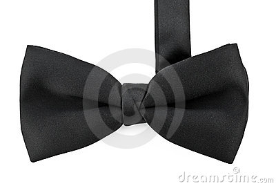 Black bow tie isolated against white