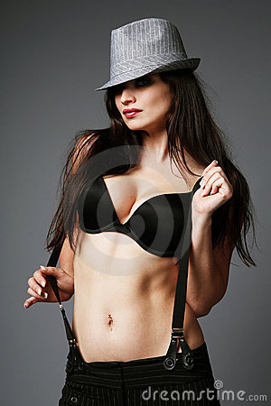 Black bra and gray hat.