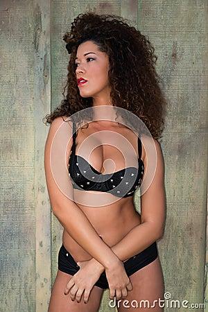Black bra and shorts
