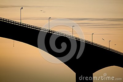 Black bridge at evening