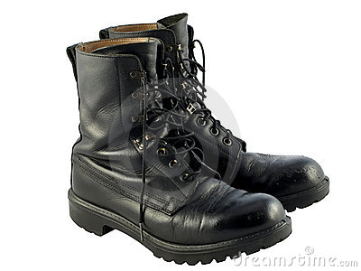 Black British Army Issue Combat Boots Stock Images - Image: 16937274
