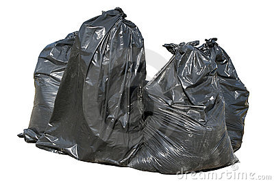 Black British bin bags, isolat