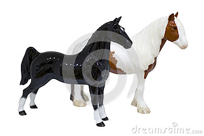 Black and brown horses figures