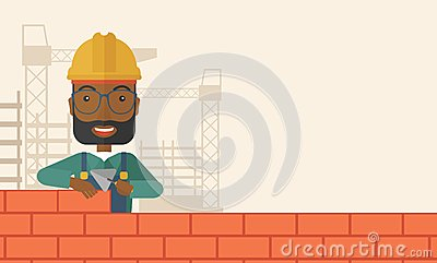 Black Builder Man Is Building A Brick Wall Stock Illustration
