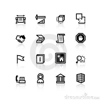 Black building icons