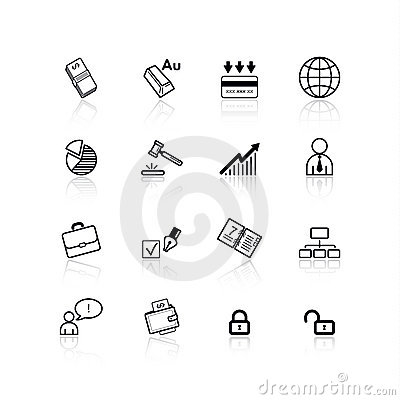 Free Black Business Icons Stock Photo - 2595130