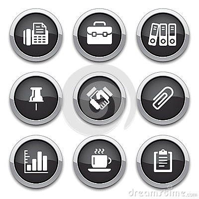 Black business & office buttons