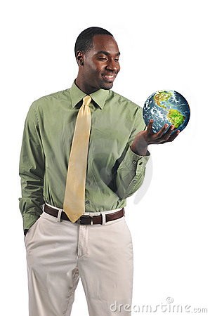 Black businessman holding the earth