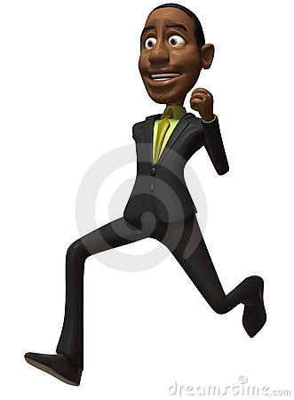 Black businessman running