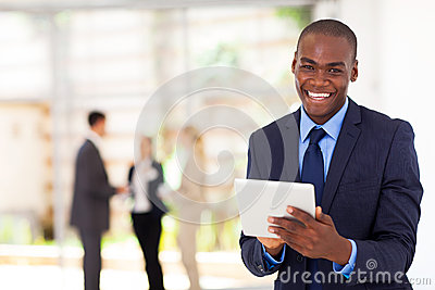 Black businessman tablet