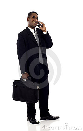 Free Black Businessman With Phone Royalty Free Stock Photo - 21842115