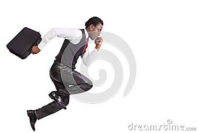 Black businessmen running