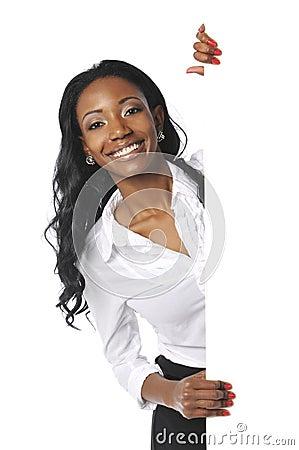 Free Black Businesswoman Holding Sign Stock Photo - 11751870