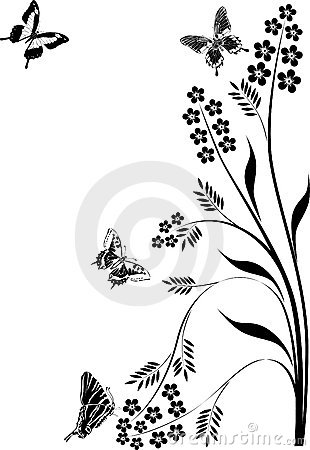 Black butterflies and floral curls illustration