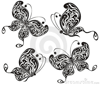 Black butterflies. Vector illustration