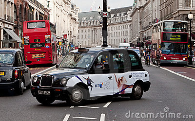 A Black Cab in Regent Street , London Editorial Image