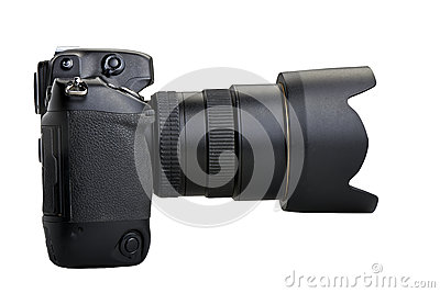 Black camera isolated on white background