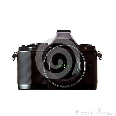 Black camera on white background 1