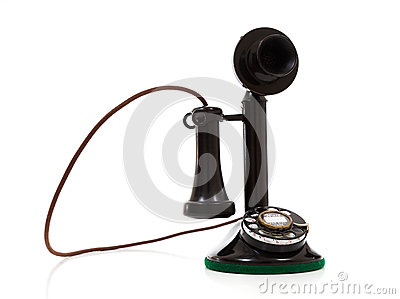 A black candlestick phone on a white background