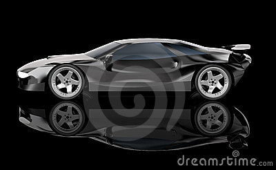 Black car. Concept coupe