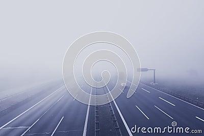 Black Car On Hi-way With Fog Free Public Domain Cc0 Image