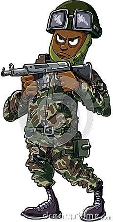 Black cartoon soldier with gun
