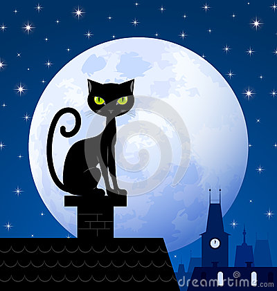 Free Black Cat And Moon Stock Photo - 26853730