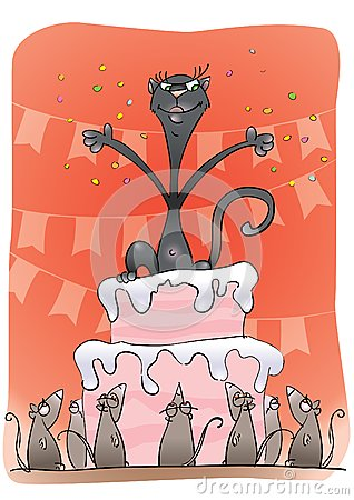 Black cat on a cake