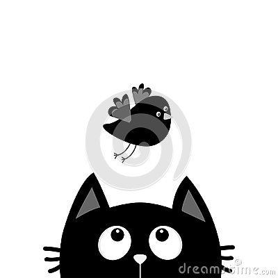 Free Black Cat Face Head Silhouette Looking Up To Flying Bird. Cute Cartoon Character. Kawaii Animal. Baby Card. Pet Collection. Flat D Stock Photos - 95058953