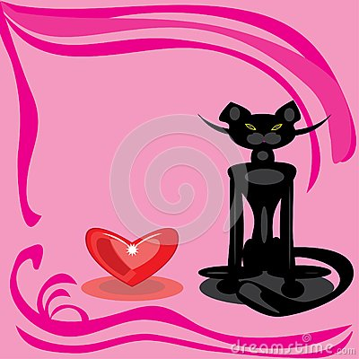 Black cat and heart on a pink background.