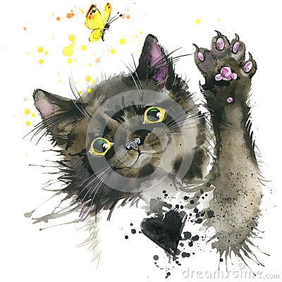 Free Black Cat Illustration With Splash Watercolor Textured Background. Royalty Free Stock Photo - 58311455