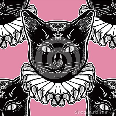 Free Black Cat In A Vintage Collar Seamless Pattern. Stock Photography - 125614232