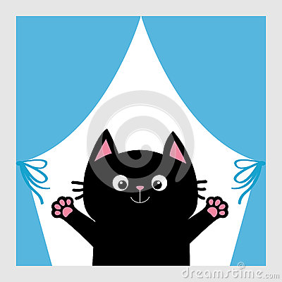 Free Black Cat In The Window. Curtain With Bow. Open Hand Paw Print. Kitty Reaching For A Hug. Funny Kawaii Animal. Baby Card. Cute Car Stock Photography - 87419482