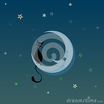 Black Cat on the Moon