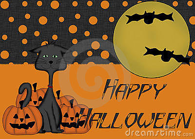 Black Cat Pumpkins Happy Halloween Background