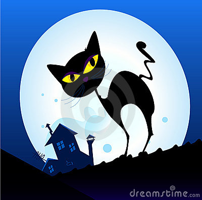 Free Black Cat Silhouette In Night Town Stock Photography - 13874452