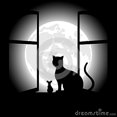 Free Black Cat Sitting Opposite To The Moon In Night Of The Halloween Royalty Free Stock Photo - 45274655