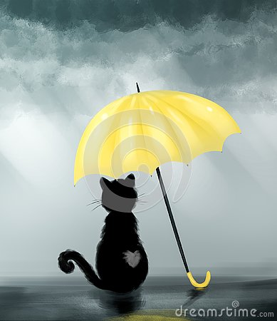 Black cat under yellow umbrella Cartoon Illustration