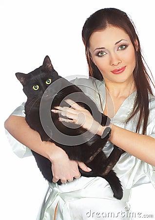 Black cat and veterinary