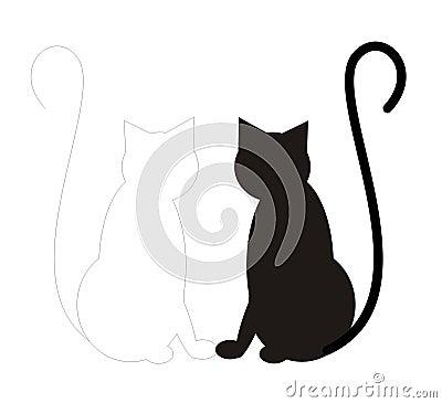 Free Black Cat White Cat Royalty Free Stock Photo - 644575