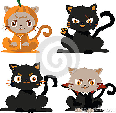 black cats in costume halloween character