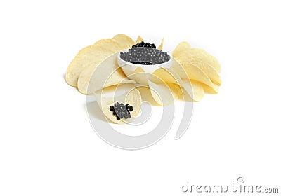 Black caviar and potato chip