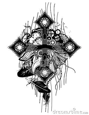 Black Chain Cross
